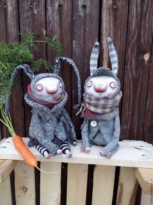 Куклы и игрушки ручной работы. Ярмарка Мастеров - ручная работа. Купить Зайцы. Серенькие. Handmade. Серый, пара зайцев, синтепон