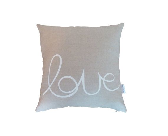 Natural linen cushion cover with love print in by BettyandMoose