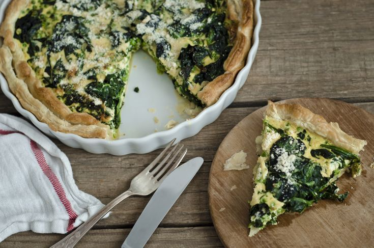 Low Calorie Spinach Parmesan Quiche with Tortilla Crust