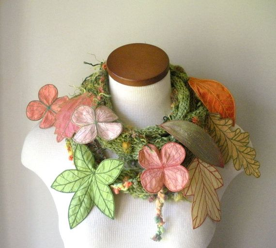 Long and Leafy Scarf with Embroidered Leaves by TheFaerieMarket, $170.00