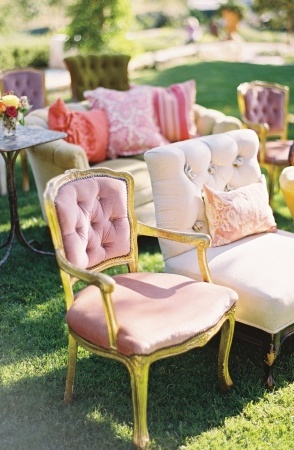 Unique Ceremony Seating.  I even like the idea of having pretty couches and chairs out at the reception or for a bridal shower.