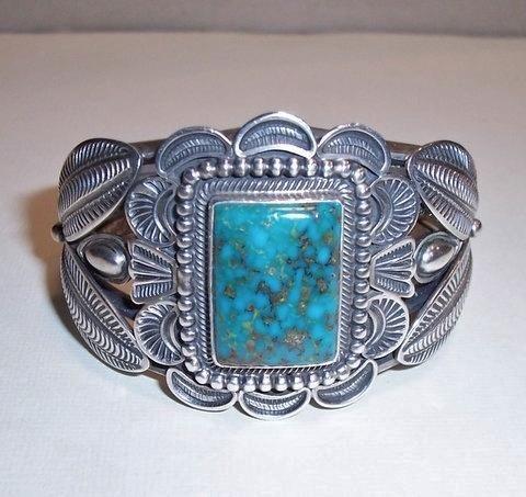 Kirk Smith Navajo Native American Classic Sterling Silver Kingman Turquoise Cuff Bracelet