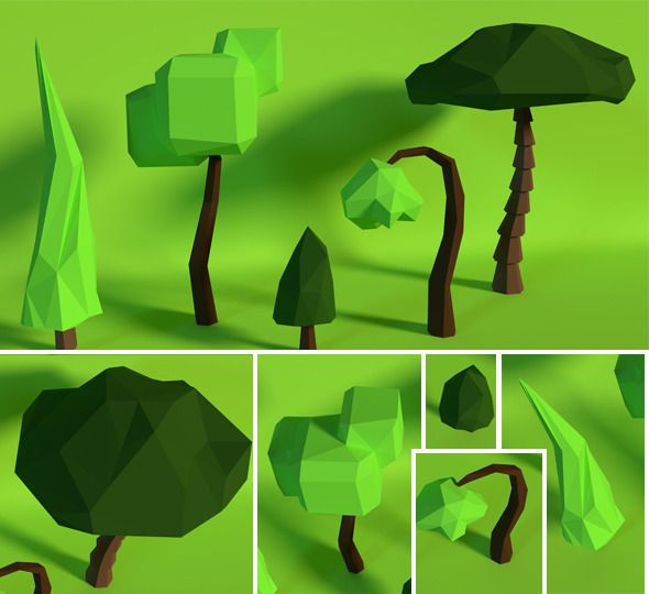 LowPoly Trees .Pack8