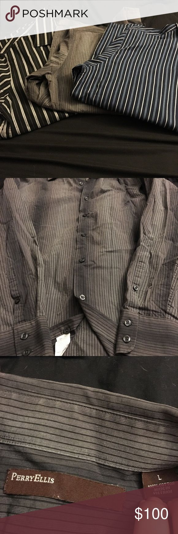 Set of 3 men's Perry Ellis dress shirts All size large. All have all buttons, all long sleeve, all are flawless, and all are 100% cotton. No pockets on any of these shirts. Dark blue with white and light blue vertical stripes, gray with black vertical stripes and black with white and gray vertical stripes. Very nice shirts. Originally $70 each. All worn strictly for interviews by my SO. They no longer fit him. Perry Ellis Shirts Dress Shirts