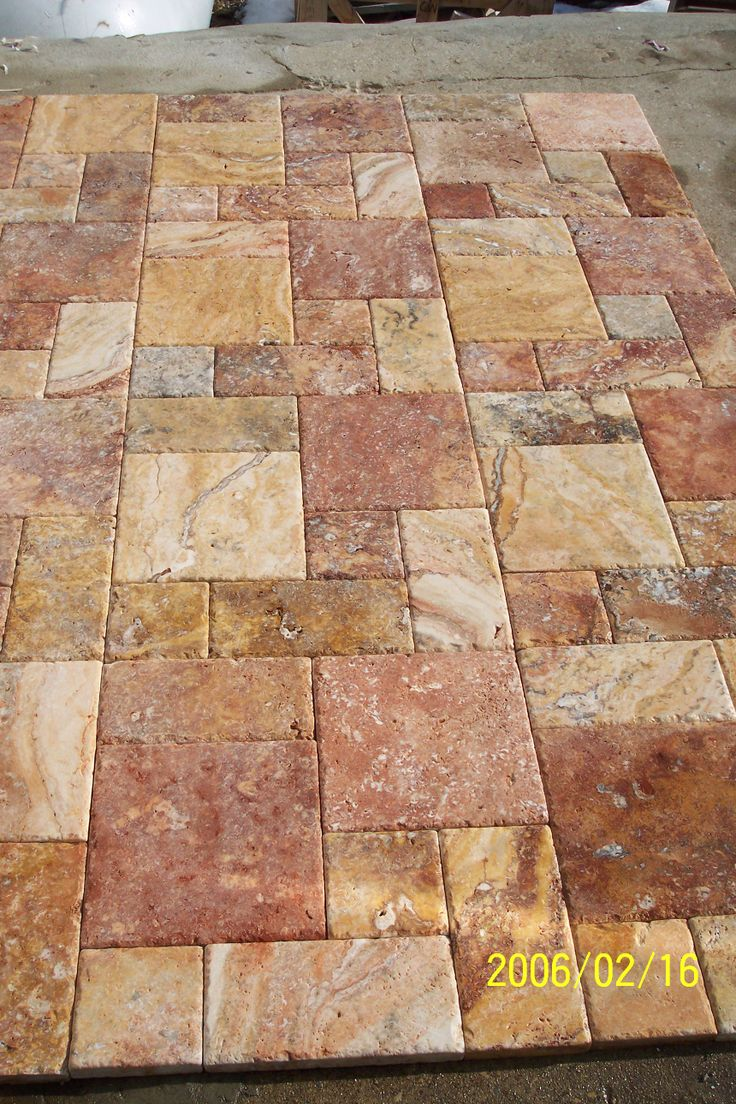 Peach Travertine Pavers Roman Pattern In 2019 Peach