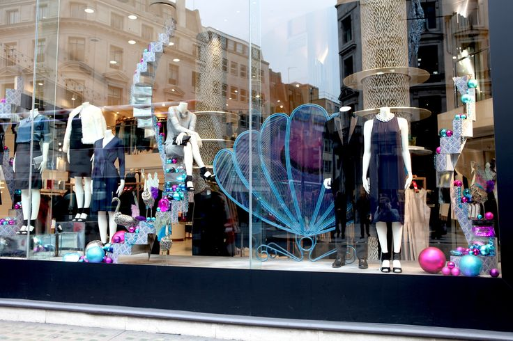 Inspired by the peacock @jaegerofficial create a luxury #Christmas window in #RegentStreet.