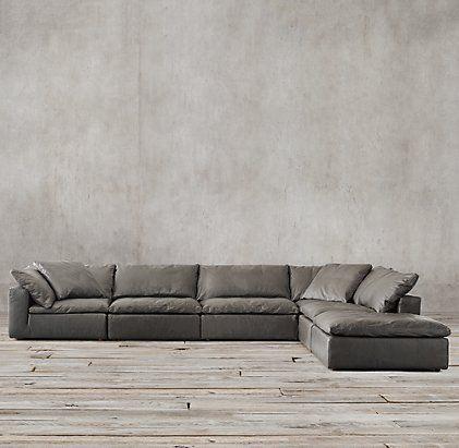 Cloud Cube Modular Leather Sofa | Restoration Hardware