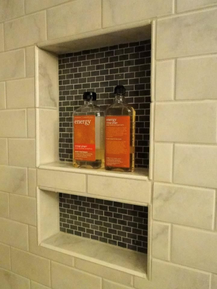 Completed niche in shower wall
