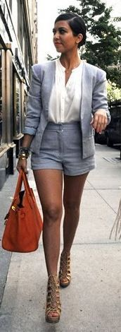 Who made Kourtney Kardashian's orange handbag, nude lace up shoes, blue short suit and button down top that she wore in New York? Shorts, top and jacket – Bec  Bridge  Shoes – Christian Louboutin  Purse – Hermes