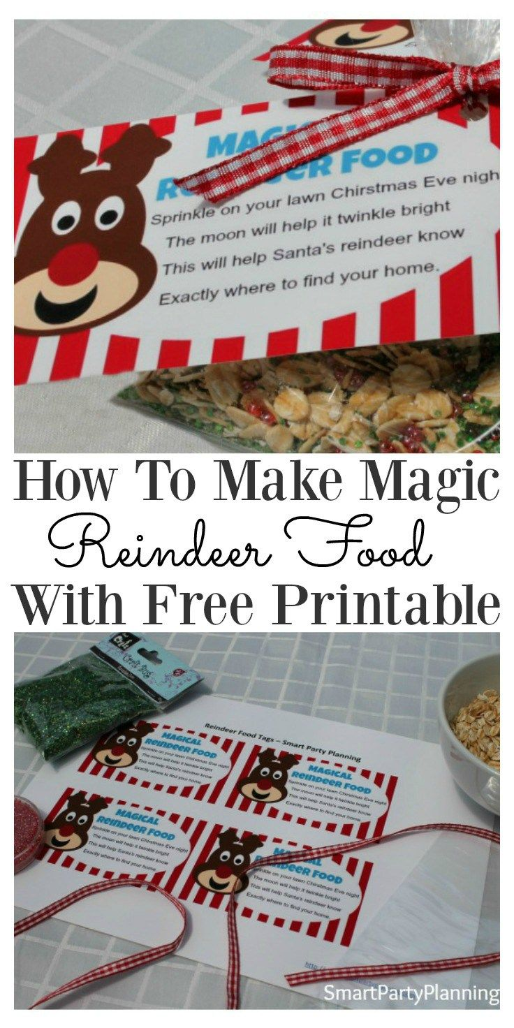 Not sure how to make reindeer food for Christmas eve? It's super easy and with this gorgeous free printable tag containing a reindeer poem. The kids will be so excited to leave the food for the reindeers. Add some extra sparkle on Christmas eve and start a new tradition with the kids. Download your free printable labels now. #Christmas #Printable #Reindeerfood