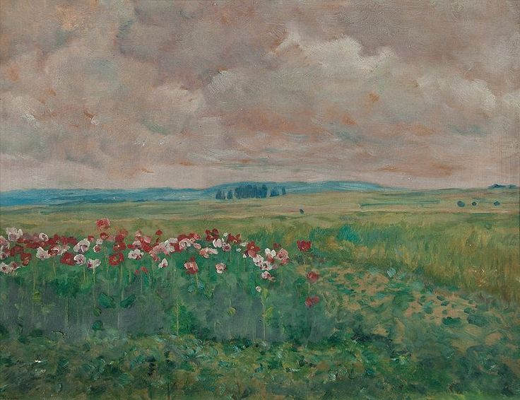 "skyflymy: ""amare-habeo: "" František Kaván (Czech, 1866 - 1941) Blossomy field, N/D oil on paste-board "" """