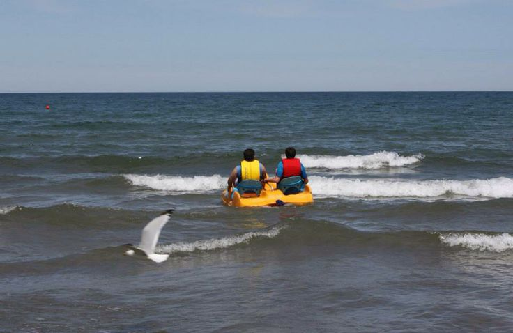 #Paddleboat fun in the surf!  #BurlOn