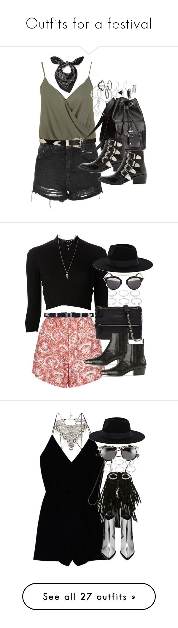 """""""Outfits for a festival"""" by ferned ❤ liked on Polyvore featuring Miss Selfridge, Topshop, ASOS, Alexander McQueen, H&M, Toga, Monica Vinader, Motel, Forever 21 and Again"""