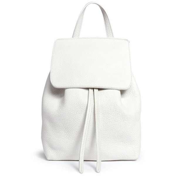 Mansur Gavriel Mini tumbled leather backpack ($620) ❤ liked on Polyvore featuring bags, backpacks, white, genuine leather backpack, real leather backpack, leather knapsack, leather daypack and white backpack