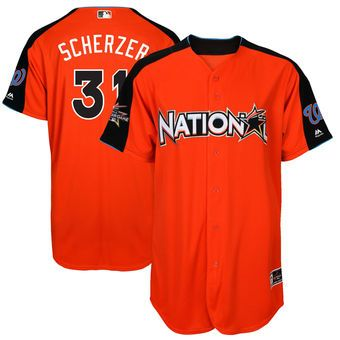 National League Nationals Max Scherzer Majestic Orange 2017 MLB All-Star Game Home Run Derby Player Jersey