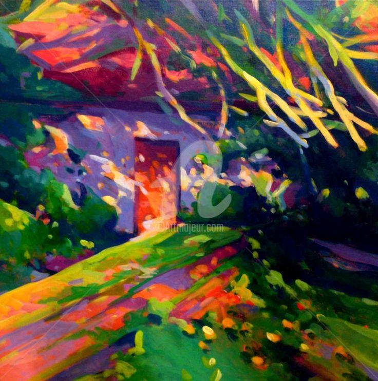 L'entrèe du vieux moulin ou la vieille porte (Peinture),  50x50x2 cm par Stéphane Le Lay