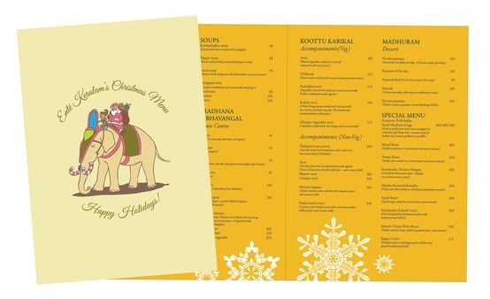 Ente Keralam - Christmas Menu Design