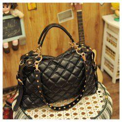 $13.61 Stylish Rhombus Embossing Embellished and Zipper Design Handbag/One-Shoulder Bag For Female