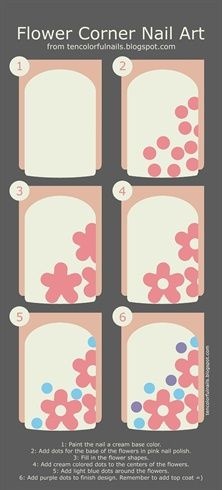 Flower Corner Nail Art - Nail Art Gallery Step-by-Step Tutorial Photos