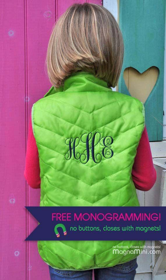 FREE MONOGRAM on Children's ChevronQuilted Vest  #MagnaMini