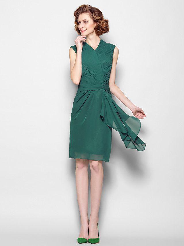 Robe de Mère de Mariée - Vert foncé Fourreau Longueur genou Sans manches Mousseline polyester - USD $ 89.99