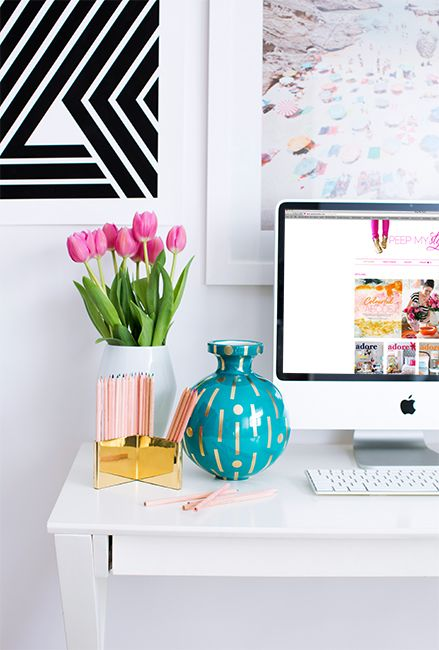 Colorful office workspace