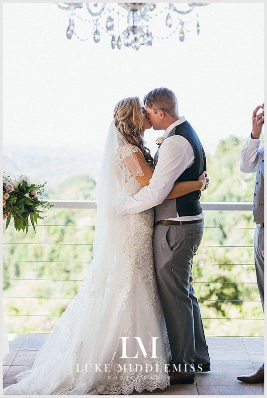 Ceremony Kiss at Maleny Manor - Sunshine Coast Wedding DJ G&M Event Group