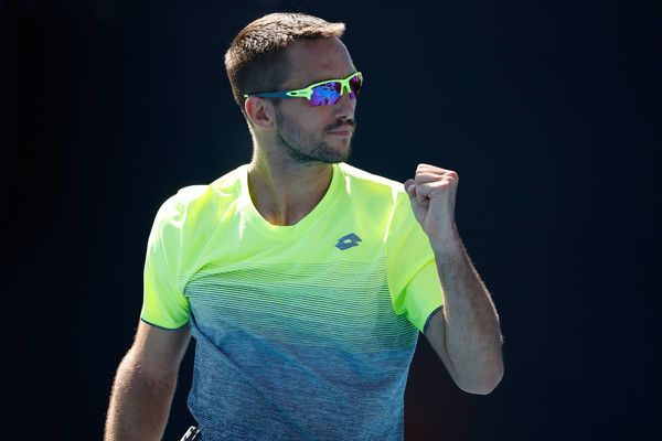 Viktor Troicki Photos - Viktor Troicki of Serbia reacts in his first round match against Alex Bolt of Australia on day one of the 2018 Australian Open at Melbourne Park on January 15, 2018 in Melbourne, Australia. - 2018 Australian Open - Day 1