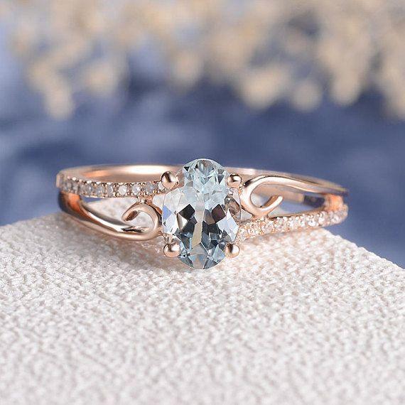 Anillo aguamarina oro rosa mujer antiguos curvas únicas de la boda nupcial conjunto piedra mariposa diamante aniversario regalo para ella