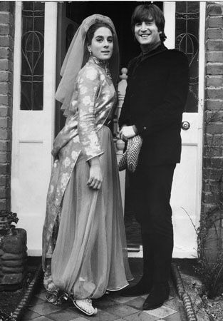 Actress Eleanor Bron and Beatle John Lennon on the set of the Beatles film Help! 1965