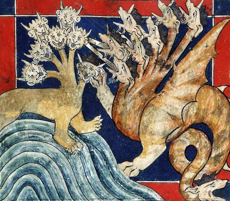 The Beast and the Dragon, from a 14th century Apocalypse manuscript, British Library.