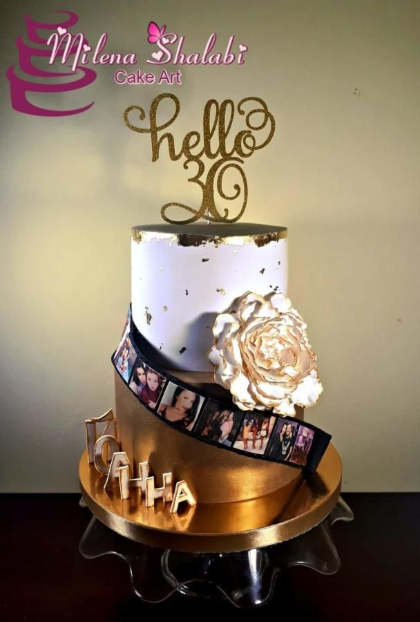 Hello 30 In Gold And White By Milena Shalabi 30th Birthday Cake
