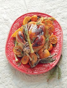 Курица, запеченная с апельсинами и мандаринами