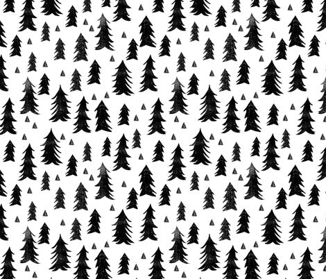 Trees - White and Black by Andrea Lauren  fabric by andrea_lauren on Spoonflower - custom fabric