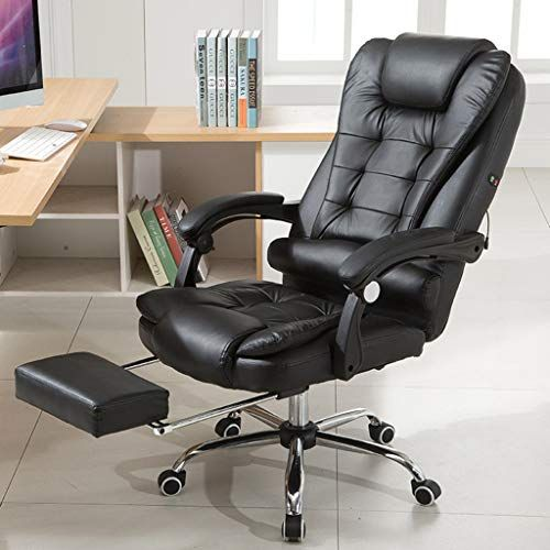 Maikouhai Adjustable Height Leather Seat Fashion Casual Lift Chair Office Study Massage Work Beau Tall Desk Chair Ergonomic Office Chair Reclining Office Chair