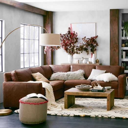 Henry Leather Sectional Set, Molasses | West Elm  (Combination pictured: 1 - Corner, 1 Right Arm Loveseat, 1 Left Arm Loveseat),