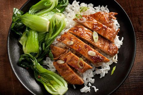 Easy Teriyaki Chicken - a simple mixture of soy sauce, honey, and ginger warmed in a saucepan then chicken thighs or thinly pounded chicken breasts are sautéed until brown, covered with the sauce, and cooked until the sauce has thickened
