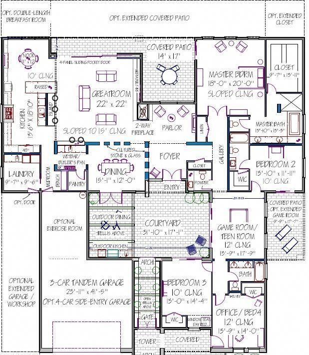 Pin By Dominique Morisot On Plan Appartement Courtyard House Plans Modern House Plans House Floor Plans Modern house plan with courtyard