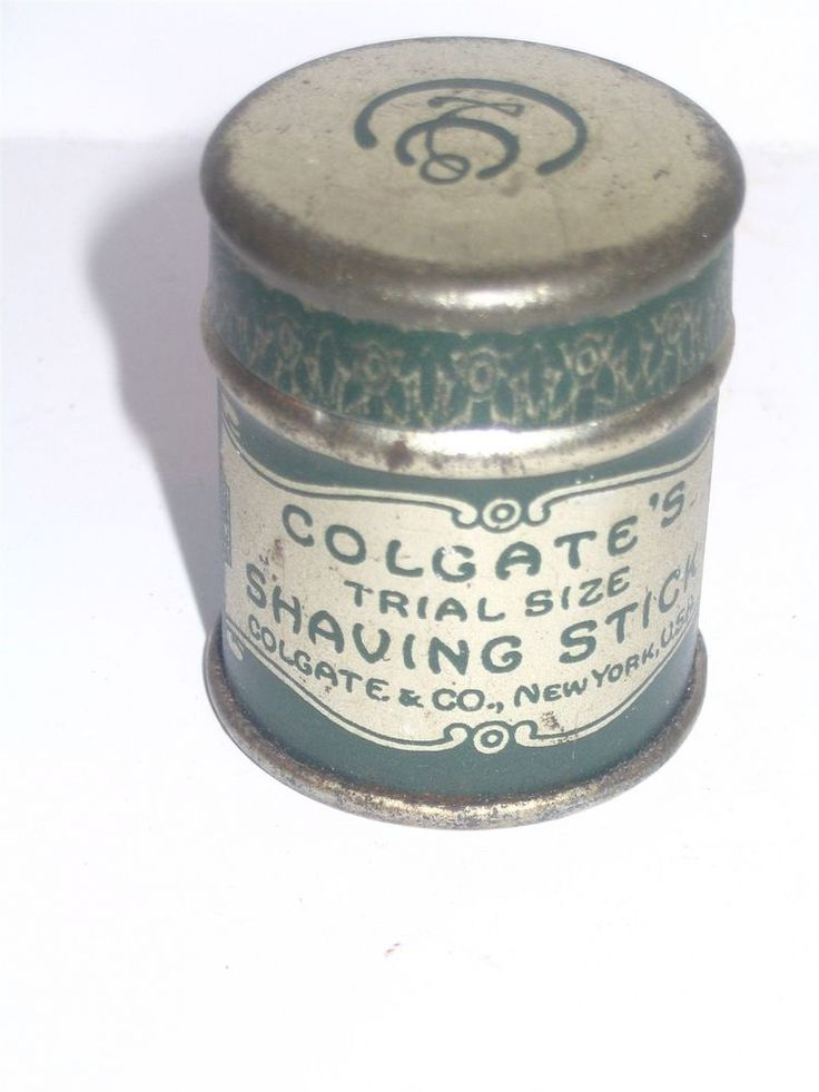 """Colgate Trial Sample Size Shaving Stick Tin Full EARLY EXCEEDINGLY RARE Colgate . Just 1.5"""" tall with untouched contents and what looks like a paper wrap around insert inside. Super condition as shown. Super find for the shaving collector or the Colgate enthusiast. 