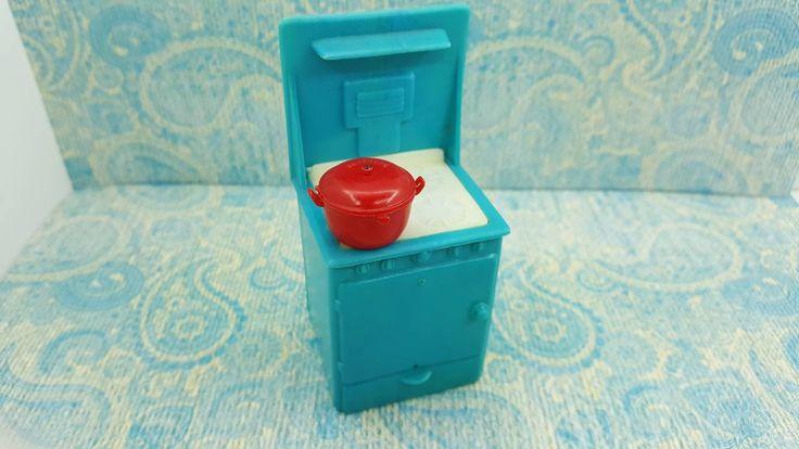 Kleeware Kitchen Stove Oven Cooker Appliances Toy Dollhouse Retro Style Hard Plastic