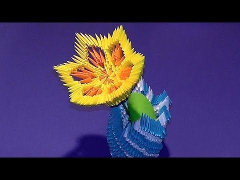 3D origami flower lily (lotus) tutorial