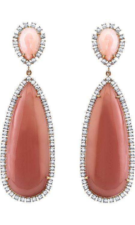 Irene Neuwirth Pink Opal, Guava Quartz & Diamond Drop Earrings