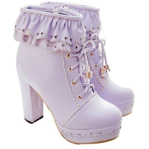 Susanny Womens Office Party Sweet Lolita Platform Chunky High Heel PU... (55 BAM) ❤ liked on Polyvore featuring shoes, boots, ankle booties, lace up booties, platform ankle boots, wide ankle boots, high heel booties and lace up boots