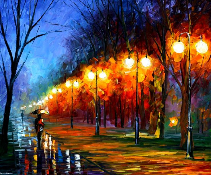 """FALL, RAIN, ALLEY..— PALETTE KNIFE Oil Painting On Canvas By Leonid Afremov - Size 36""""X30"""""""