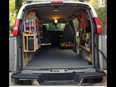 Work Van with Custom DIY Wood Shelving for Tools - YouTube