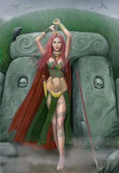 Macha's themes are victory, success, protection, fertility and fire. Her symbols are red items, the acorn and the crow.  Macha means 'mighty one.'  She used Her might to protect the Celts' lands agains invaders, thereby becoming a war Goddess and guardian. Art shows Her dressed in red (color abhorrent to evil) and with blazing red hair, forever chasing off any malevolence that threatens Her children's success.  Found on journeyingtothegoddess.wordpress.com
