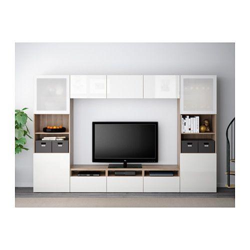 BESTÅ Combinaison rangt TV/vitrines - motif noyer teinté gris/Selsviken brillant/blanc verre givré, glissière tiroir, fermeture silence - IKEA