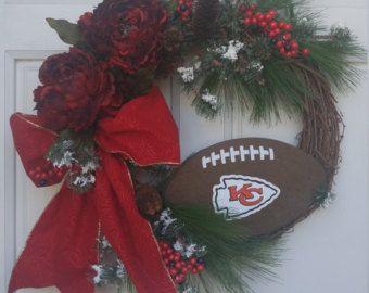 Kansas City Chiefs Wreath, Christmas Wreath, Winter Wreath, NFL Wreath. Chiefs Football Wreath, KC Football Wreath