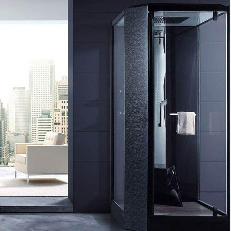 Cabine de douche hammam noire / La salle de bain noire  #salledebain #bathroomideas #bathroomdesign #bathroomremodel #bathroom #deco #décoration #inspiration