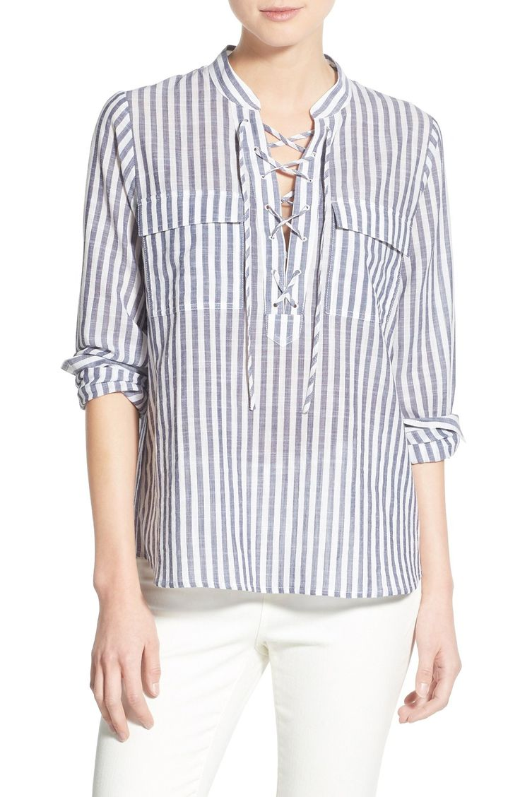 madewell stripe lace-up shirt